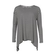 Trapeze Top Cream/black Stripe