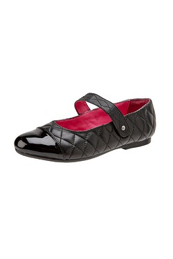 Girls Leather Quilted Ballet Shoe