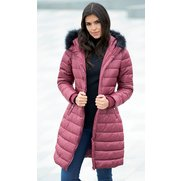 Longline Padded Jacket With Faux Fu...