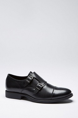 Thomas Gee Leather Monk Strap Shoe Black