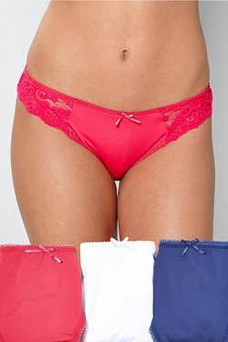 Pack Of 3 Lace High Leg Briefs