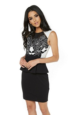 Lipsy Mono Embellished Peplum Dress