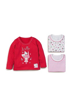Baby Girls Pack Of 3 Long Sleeve Tops