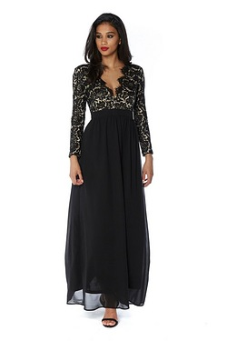 Club L Lace Detail Scallop Maxi Dress