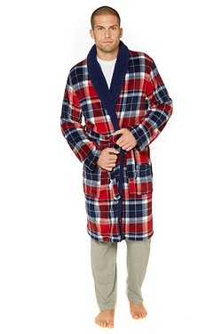 Check Sherpa Collar Luxury Robe