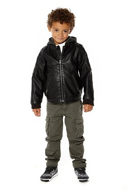 Boys Leather Look Jacket With Hood