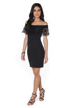 Lipsy Lace Top Bardot Dress