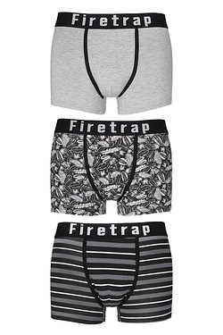 Firetrap Pack Of 3 Boxers -Print/Gr...