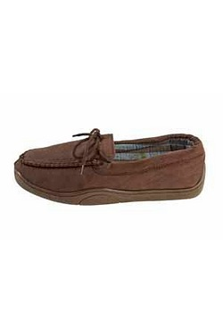 Striped Lined Moccasin Slipper