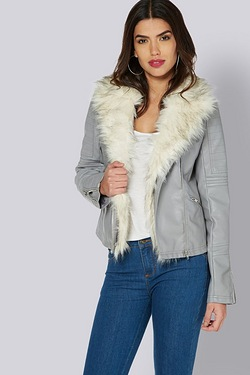 Be You Faux Fur Trim Biker Jacket