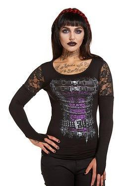 Waisted Corset Long Sleeved Top