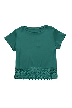 Girls Lace Trim T-Shirt
