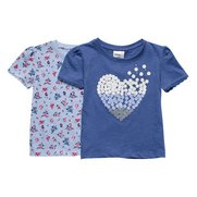 Girls Pack Of 2 Heart/Floral T-Shirts
