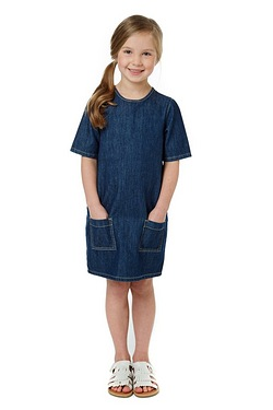 Girls Denim Dress With Patch Pockets
