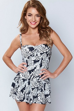 Skirted Swimsuit - Palm Print