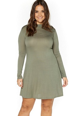 Just Me High Neck Jersey Dress