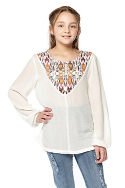 Girls Embroidered Long Sleeve Top