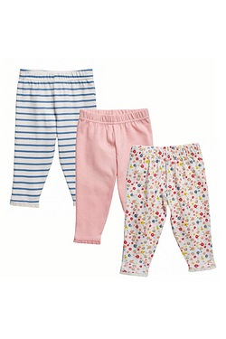 Baby Girl's Pack Of 3 Leggings