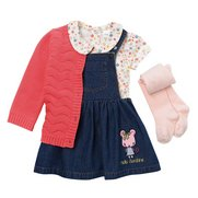Baby Girl's 4-Piece Set Denim Pinaf...