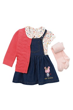Baby Girls 4-Piece Set Denim Pinafo...