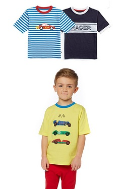 Boys Pack Of 3 Pitstop T-Shirts