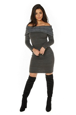 Club L Knit Bardot Jumper Dress