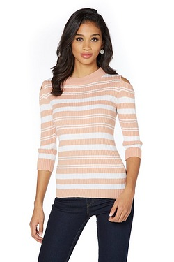 Brave Soul Cold Shoulder Stripe Jumper