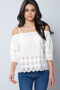 Brave Soul Embroidered Bardot Top