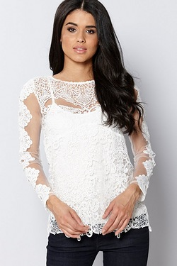 Club L Long Sleeve Luxury Crochet Top
