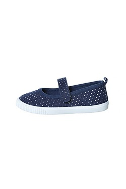 Girls Navy Spot Velcro Canvas Pump