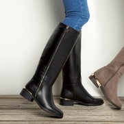 Stretch Back Tall Boot With Zip Detail