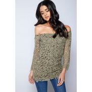 Club L Crochet Detail Bardot Top