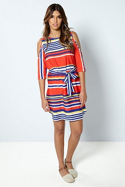 Be You Split Sleeve Dress - Stripe