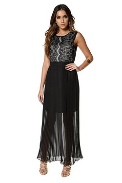 Club L Eyelash Lace Detail Maxi Dress