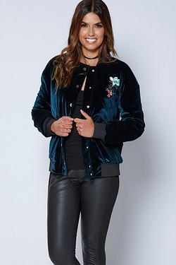 Be You Velvet Embroidered Bomber Jacket