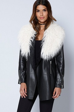 Be You PU Waterfall Fur Trim Jacket