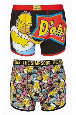 Simpsons Doh Pack Of 2 Boxers