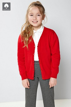 Girls Knitted Scallop Edge Cardigan...