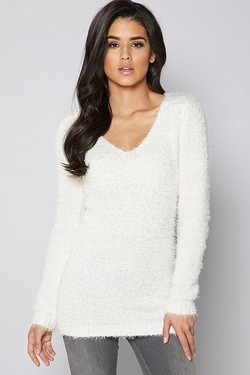 Brave Soul Fluffy V Neck Jumper