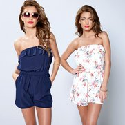 Pack Of 2 Bandeau Frill Playsuits