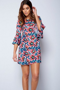 Floral Frill Sleeve Swing Dress