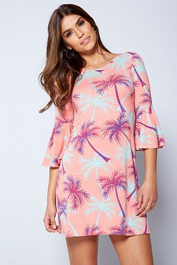 Palm Print Frill Sleeve Swing Dress