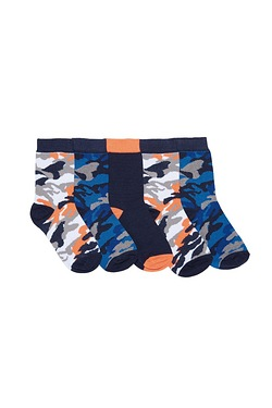Boys Pack Of 5 Socks - Camouflage