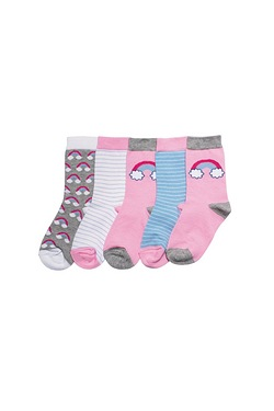 Girl's Pack Of 5 Socks - Rainbows