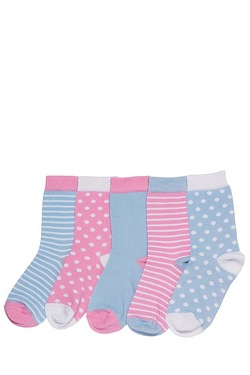 Girl's Pack Of 5 Socks - Spots/Stripes