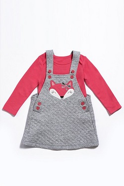 Baby Girls Fox 2-Piece Pinafore Set