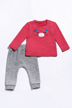 Baby Girl's 2-Piece Cat Top & Jog Set