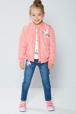 Girls Bomber Jacket with Badges