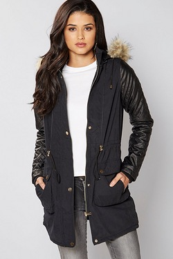 Brave Soul Faux Fur Trim Parka Jacket