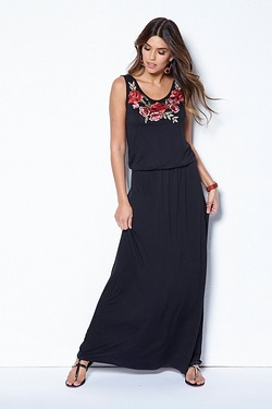 Club L Rose Embroidery Maxi Dress